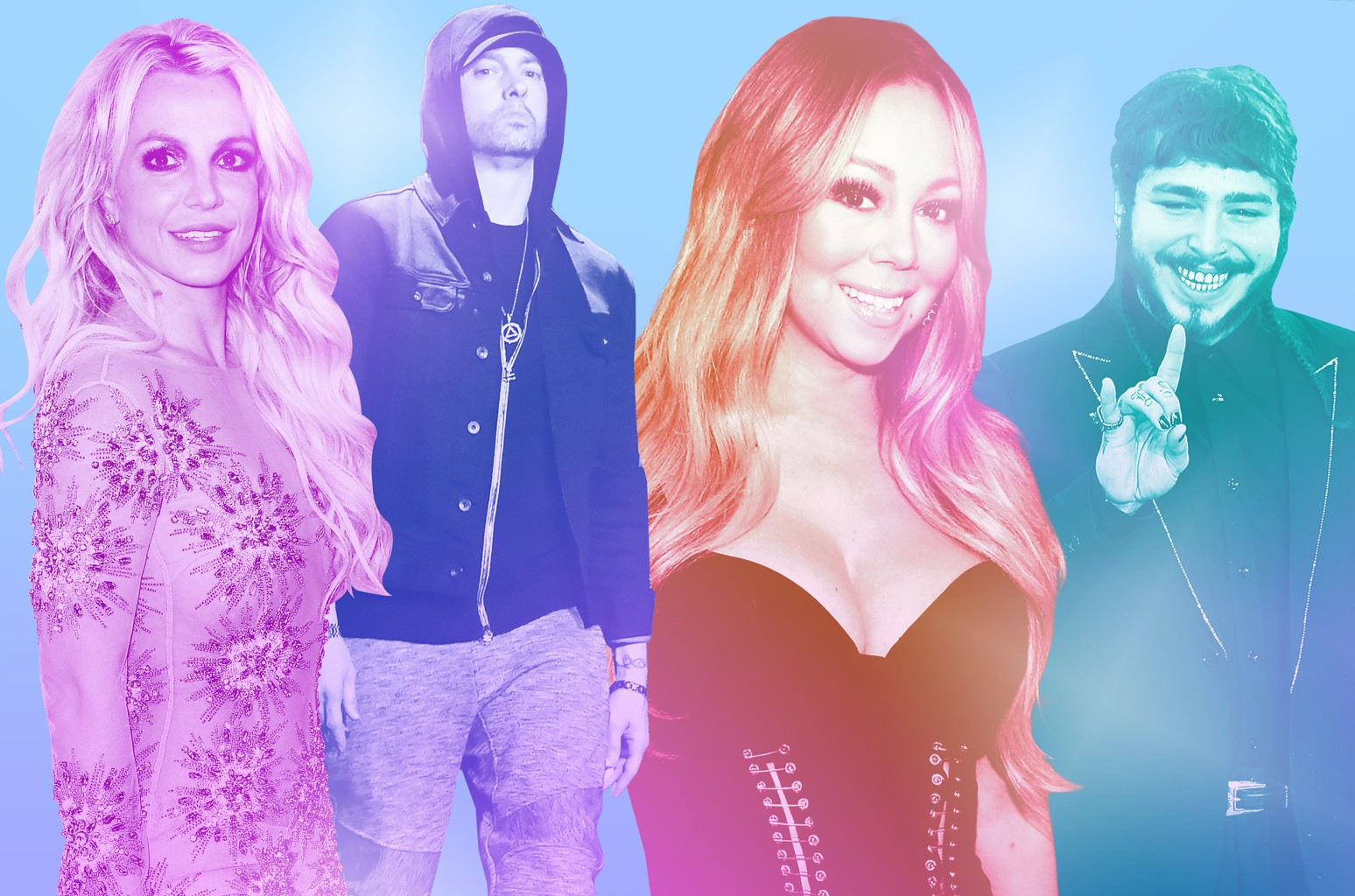 From left: Britney Spears, Eminem, Mariah Carey & Post Malone