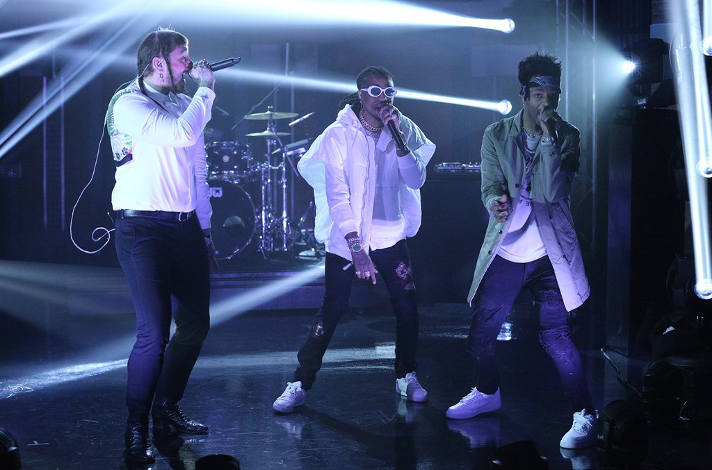 Post Malone, Quavo and Metro Boomin perform on 'Late Night with Seth Meyers' on March 23, 2017.
