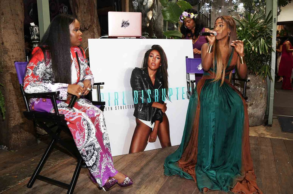 Courtney Adeleye and Sevyn Streeter speak during The Mane Choice Boss Up Brunch at Sur Restaurant on June 23, 2017 in Los Angeles.