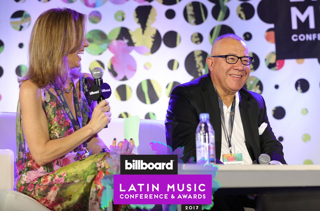 Billboard's Leila Cobo and Henry Cardenas of Cardenas Marketing Network during the Power Players panel at the Billboard Latin Music Conference in Miami on April 26, 2017.