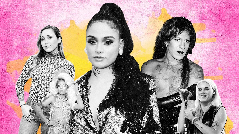 From left: Miley Cyrus, Aja, Kehlani, Mykki Blanco & Lynn Gunn of PVRIS
