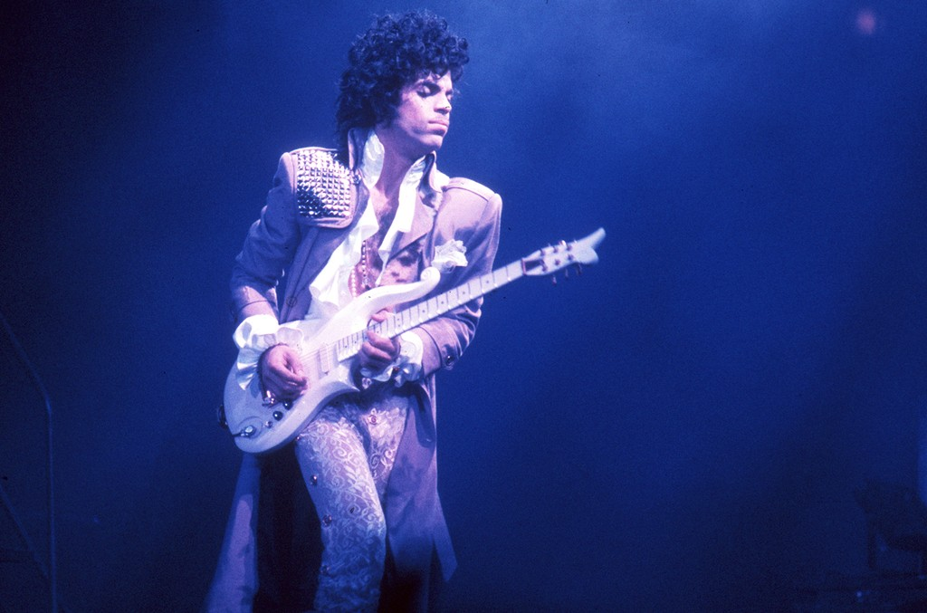 Prince performs at the Fabulous Forum on Feb. 19, 1985 in Inglewood, Calif.