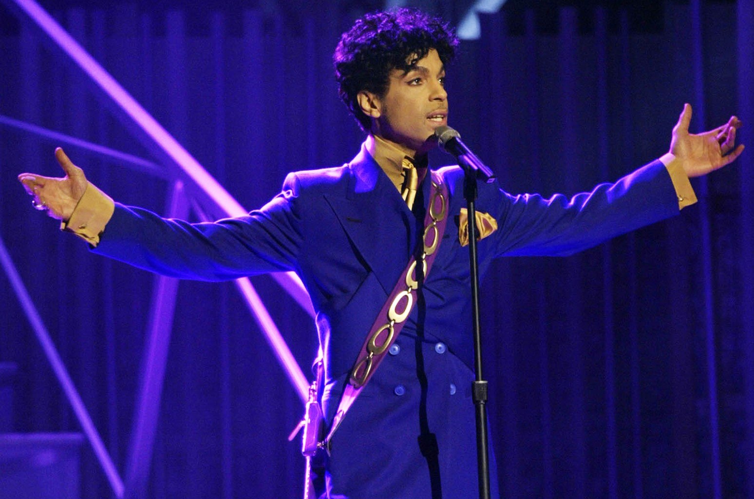 Prince performs during the 46th Annual Grammy Awards