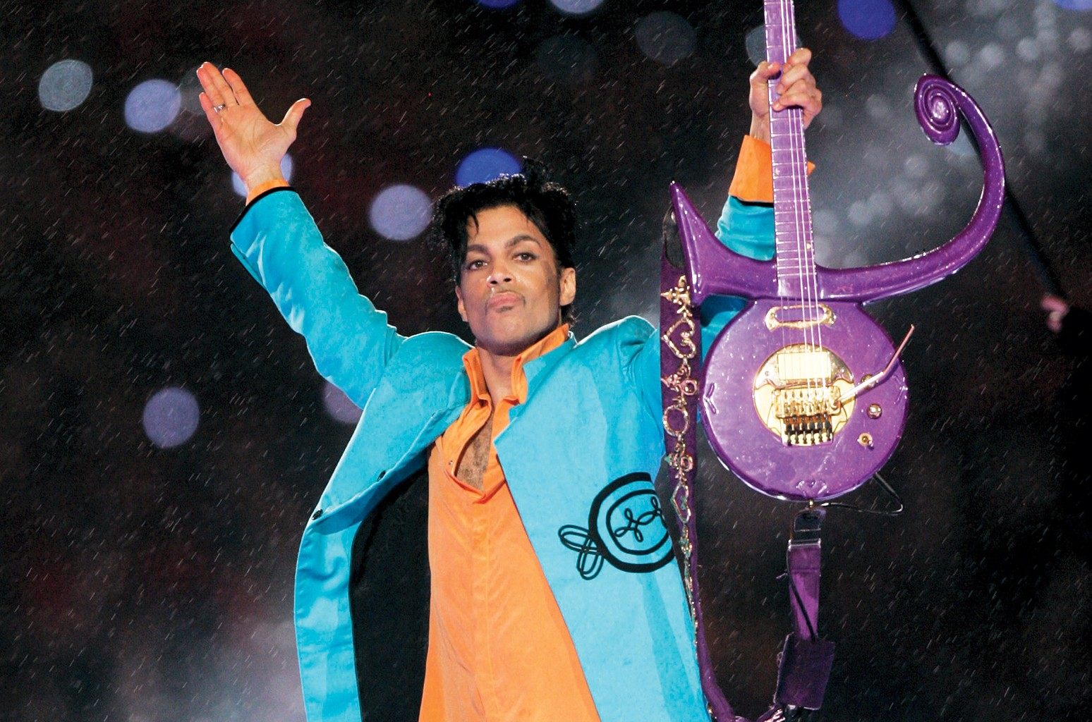 Prince performs during the halftime show at the Super Bowl XLI football game at Dolphin Stadium in Miami on Feb. 4, 2007.