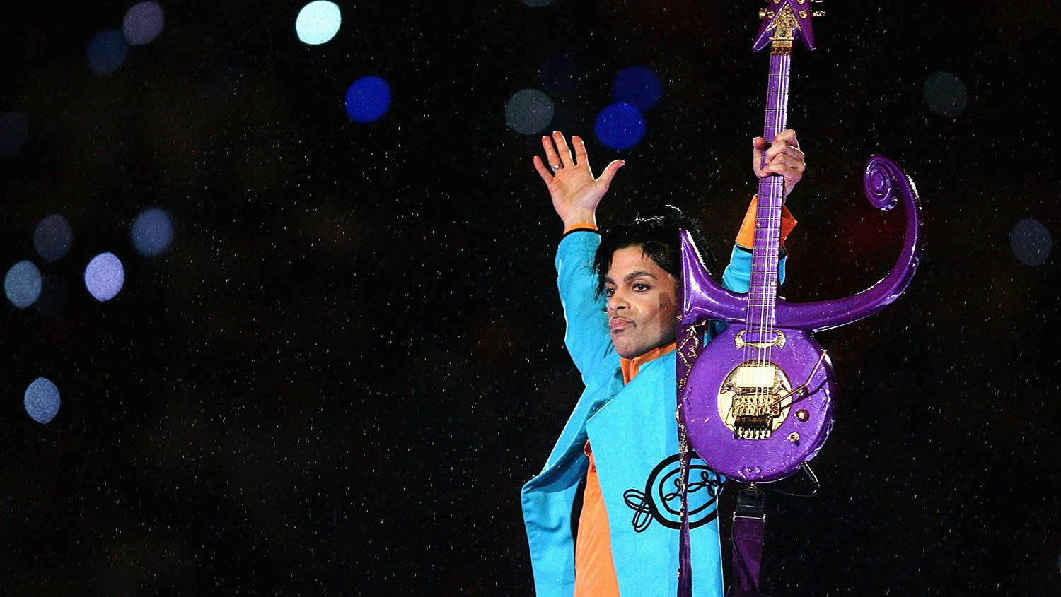 """Prince performs during the """"Pepsi Halftime Show"""" at Super Bowl XLI between the Indianapolis Colts and the Chicago Bears on Feb. 4, 2007 at Dolphin Stadium in Miami Gardens, Fla."""