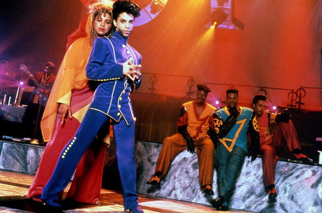 Prince and his band The New Power Generation photographed during their 'Diamonds and Pearls' tour in 1991.