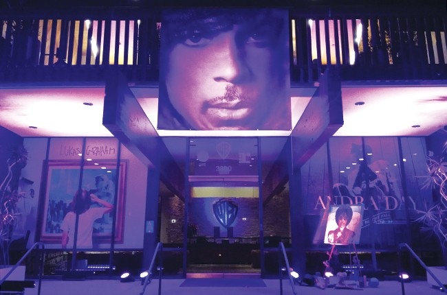 The Warner Music building in Burbank paid tribute to Prince on April 26.