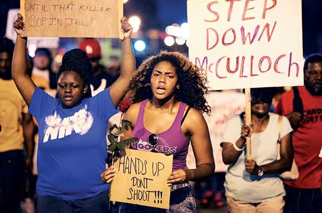 Protestors in Ferguson, Missouri in 2014