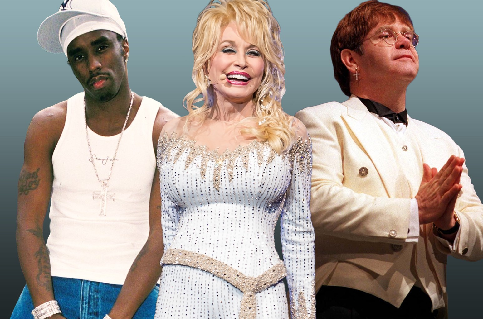 Puff Daddy, Dolly Parton and Elton John.