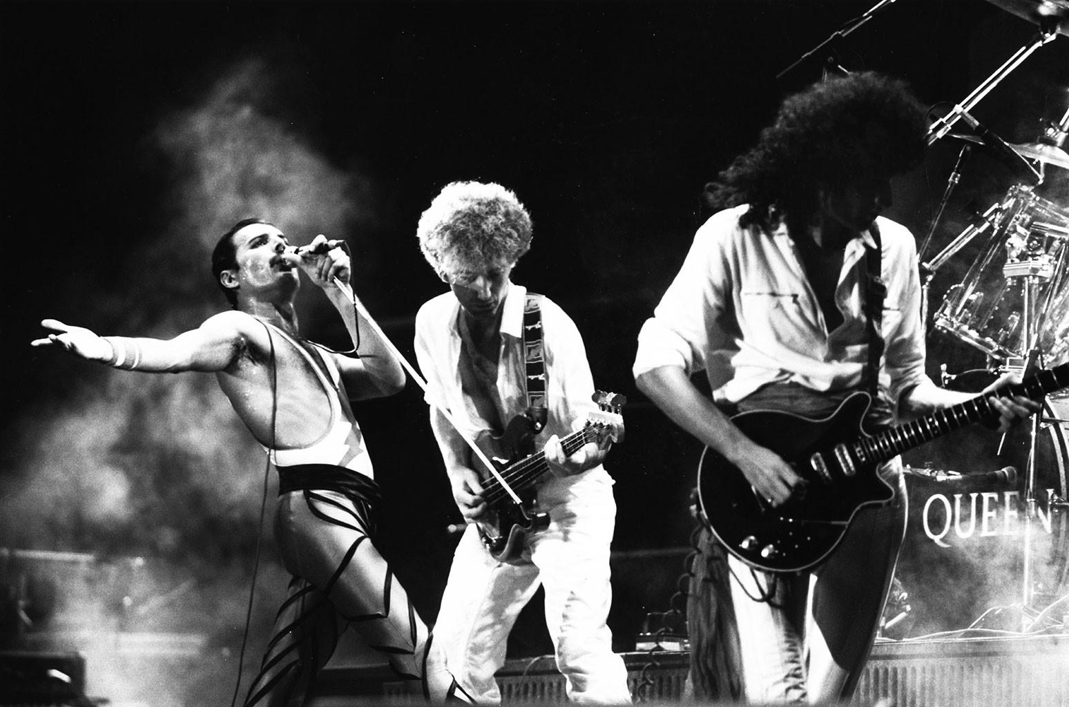 Freddie Mercury, John Deacon and Brian May of Queen