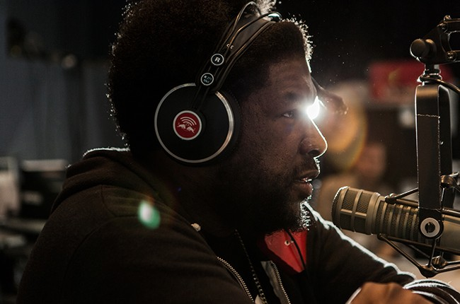 Questlove is interviewed in the Red Bull Music Academy pop-up radio station, at Red Bull Guest House in Miami