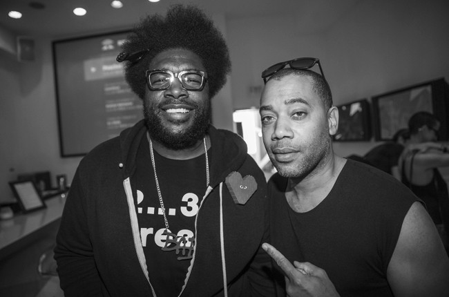 Questlove and Carl Craig pose for a portrait at Red Bull Guest House in Miami