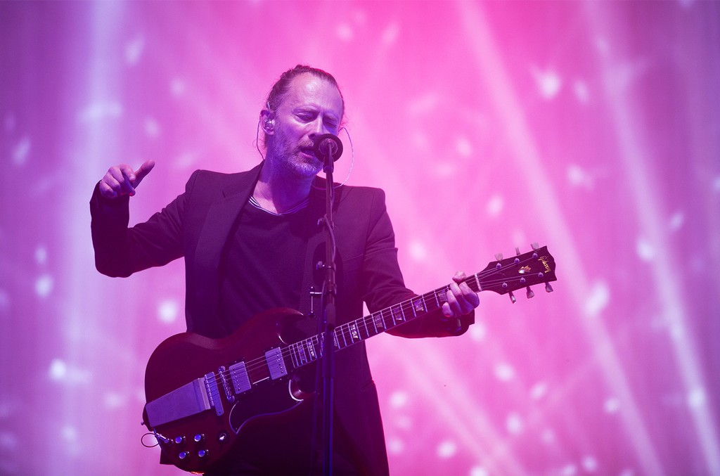 Thom Yorke from Radiohead performs on the Pyramid Stage at the Glastonbury Festival site at Worthy Farm in Pilton on June 23, 2017 near Glastonbury, England.