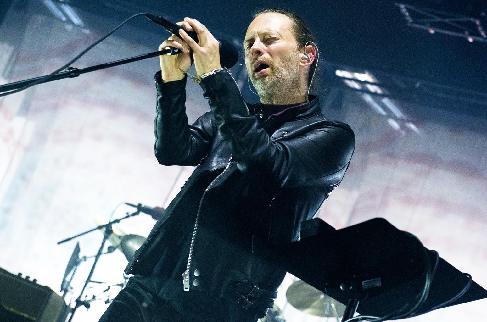 Thom Yorke of Radiohead performs in London