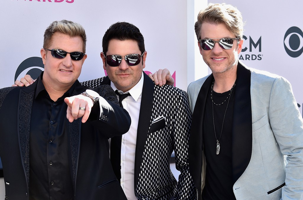 Gary LeVox, Jay DeMarcus, and Joe Don Rooney of Rascal Flatts attend the 52nd Academy Of Country Music Awards at Toshiba Plaza on April 2, 2017 in Las Vegas.
