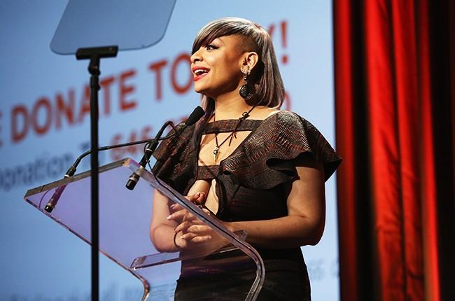 Raven-Symone speaks on stage at TrevorLIVE New York 2015