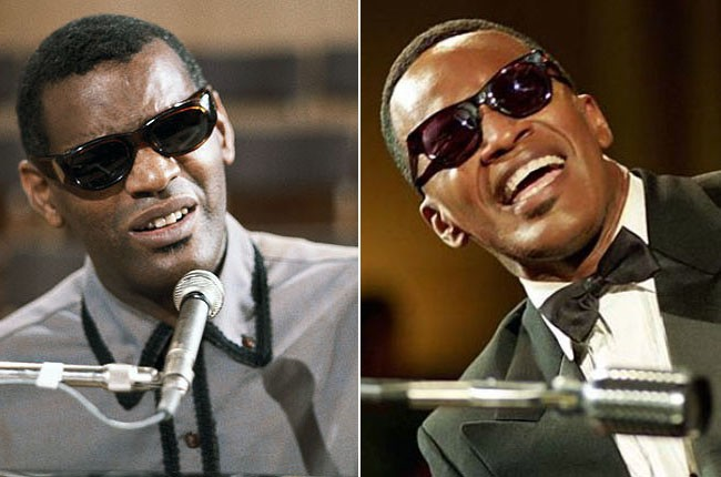 Ray Charles and Jamie Foxx as Ray Charles
