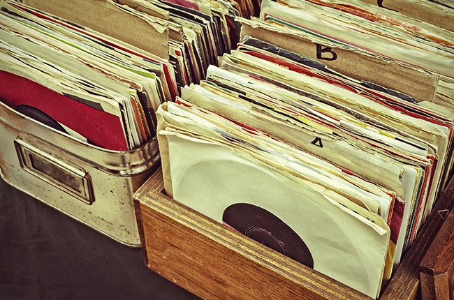 records vinyls in crates at a record store