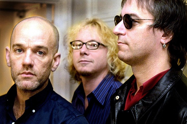 Michael Stipe, Mike Mills and Peter Buck of R.E.M. in 2001.