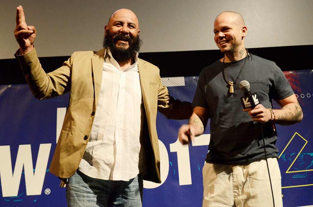 "Guillermo Juarez and Rene Perez Joglar aka Residente onstage at the premiere of ""Residente"" during 2017 SXSW Conference and Festivals at Alamo Lamar D on March 11, 2017 in Austin, Texas."