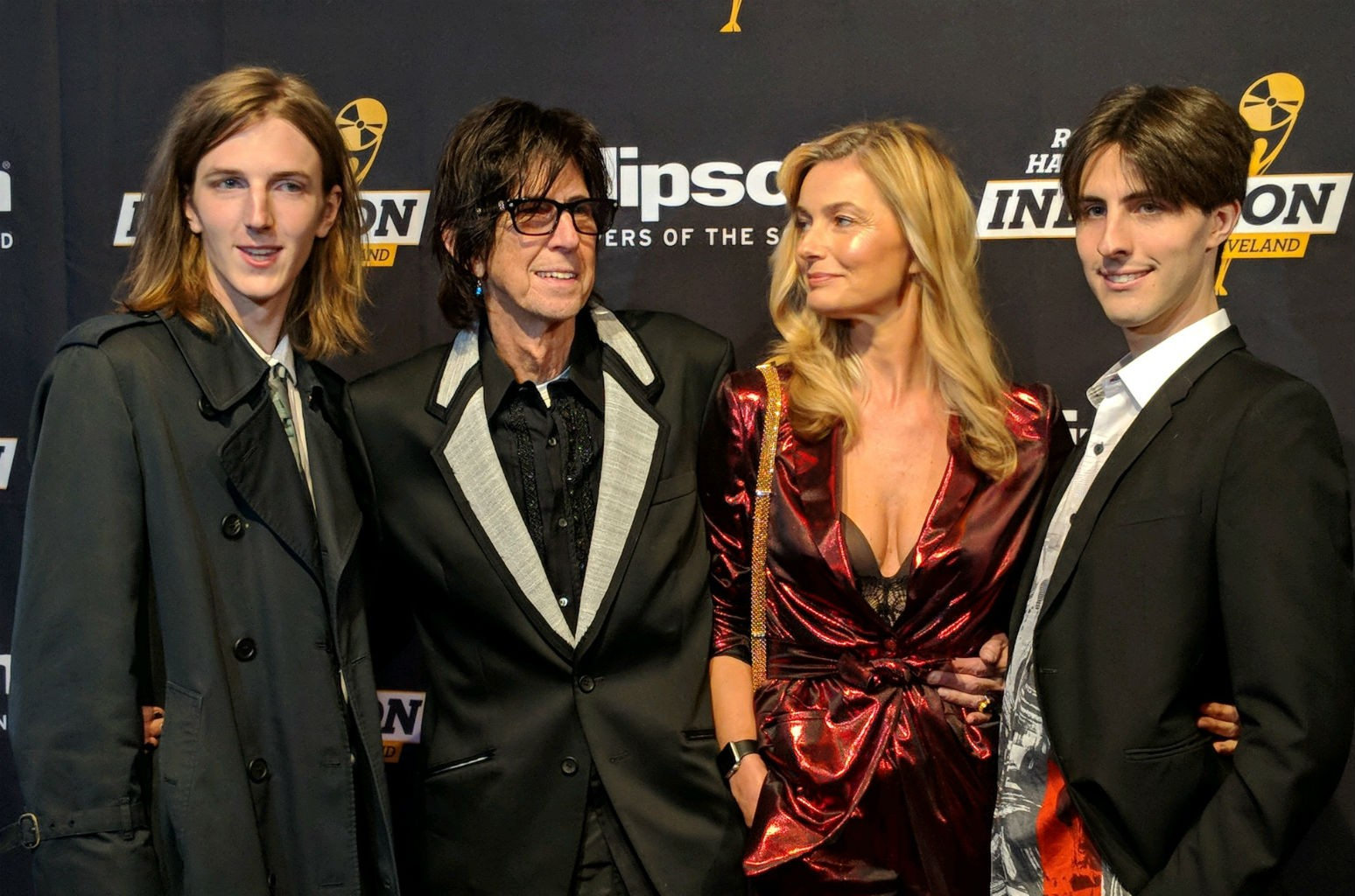 Ric Ocasek and family celebrate before the 2018 Rock and Roll Hall of Fame induction ceremony in Cleveland, Ohio on April 13, 2016.
