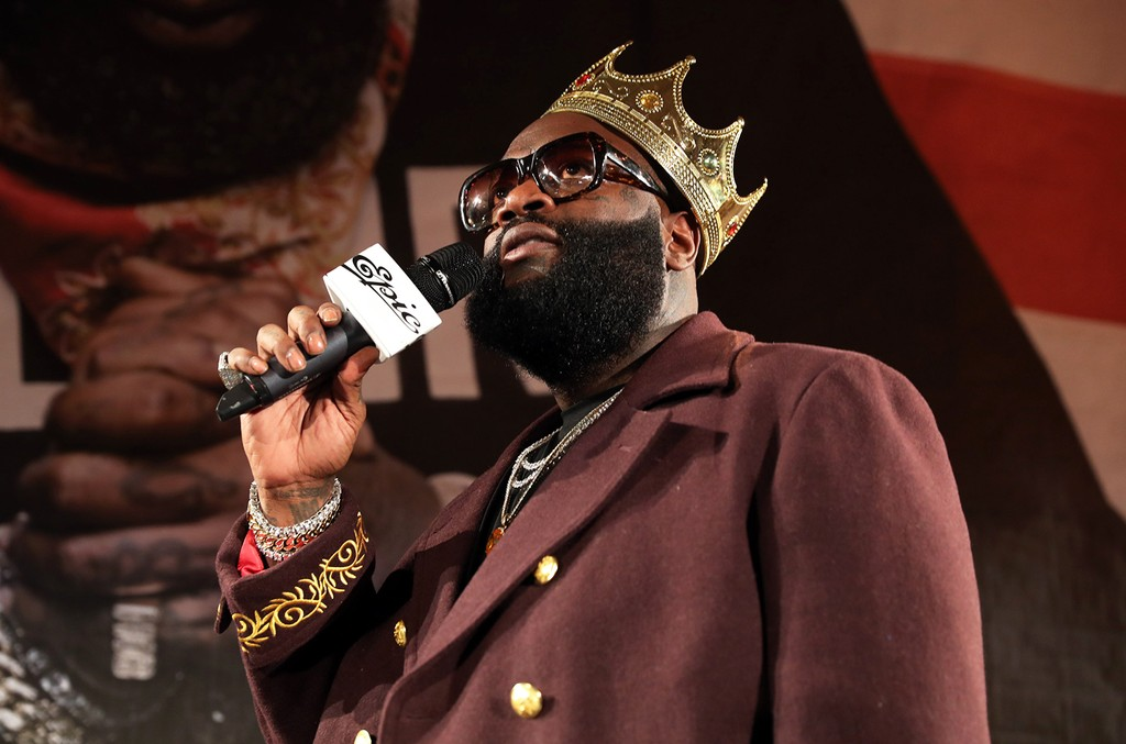 "Rick Ross hosts the Rick Ross and Mr. Brainwash ""Rather You Than Me"" Album Listening Experience on March 8, 2017 in New York City.  (Photo by Johnny Nunez/WireImage)"