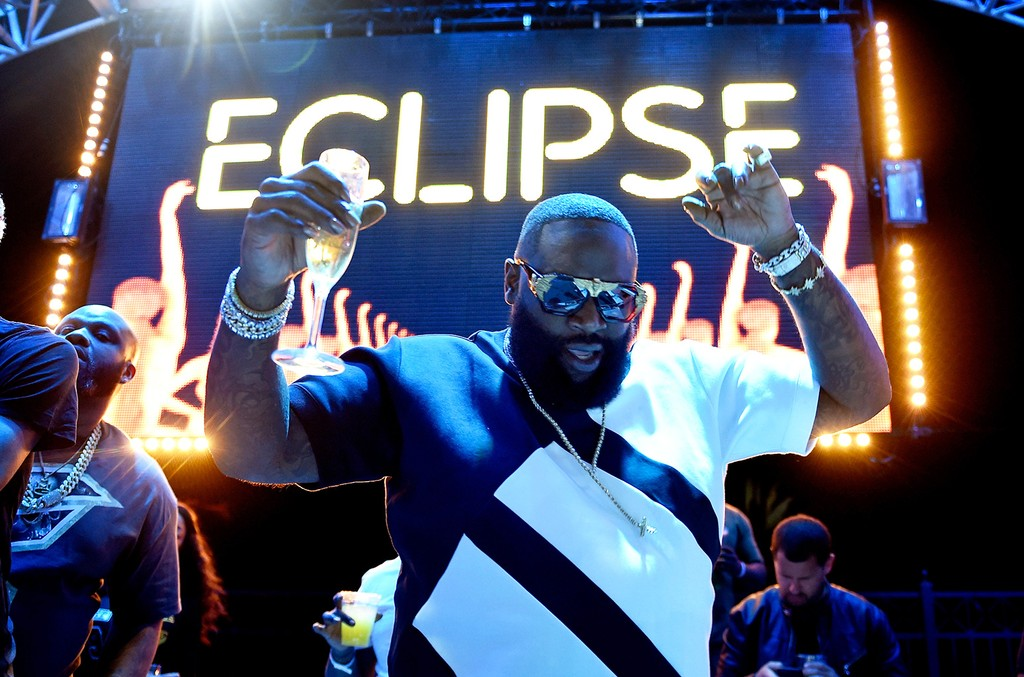 Rick Ross performs at the official Eclipse launch party at Daylight Beach Club at the Mandalay Bay Resort and Casino on April 21, 2017 in Las Vegas.
