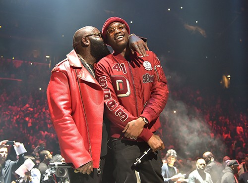 Rick Ross and Meek Mill perform onstage during TIDAL X: 1020 Amplified by HTC