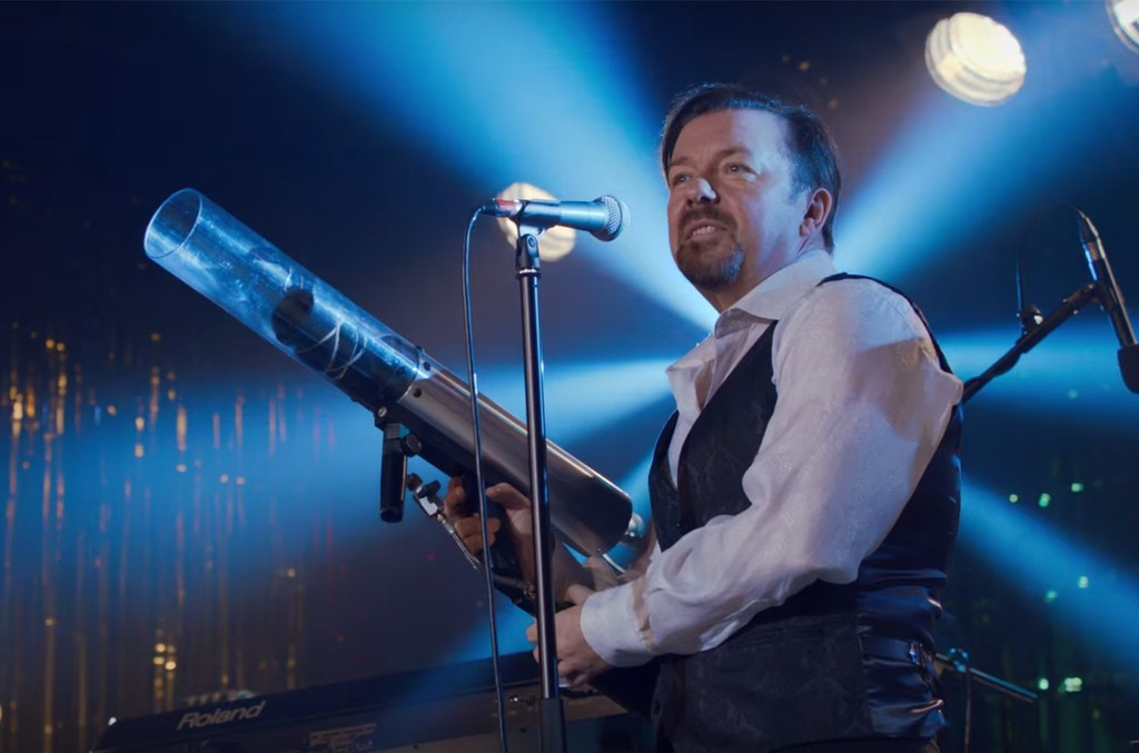Ricky Gervais in the trailer for David Brent: Life on the Road.