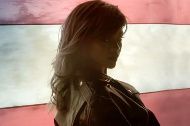 "Rihanna in her ""American Oxygen"" video"