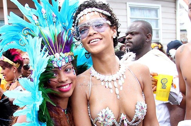 Rihanna and friends seen during Crop Over in Barbados in 2013.