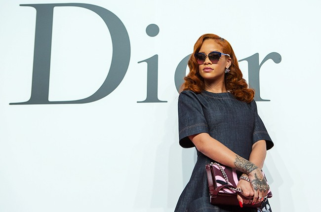 Rihanna arrives for the presentation of the Fall/Winter 2015/16 Ready to Wear collection of Dior