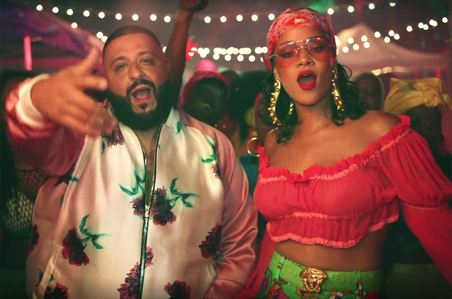"""DJ Khaled and Rihanna in the video for """"Wild Thoughts."""""""