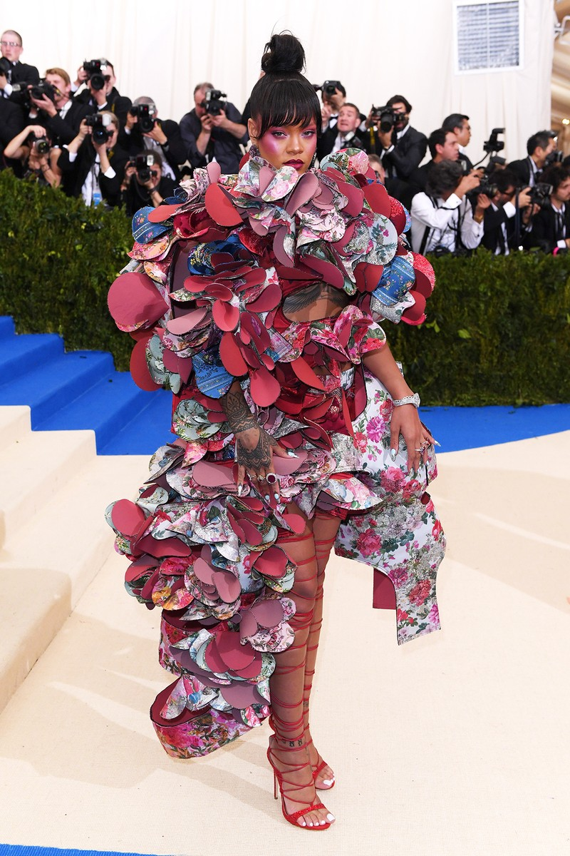 "Rihanna attends ""Rei Kawakubo/Comme des Garcons: Art Of The In-Between"" Costume Institute Gala at Metropolitan Museum of Art on May 1, 2017 in New York City."