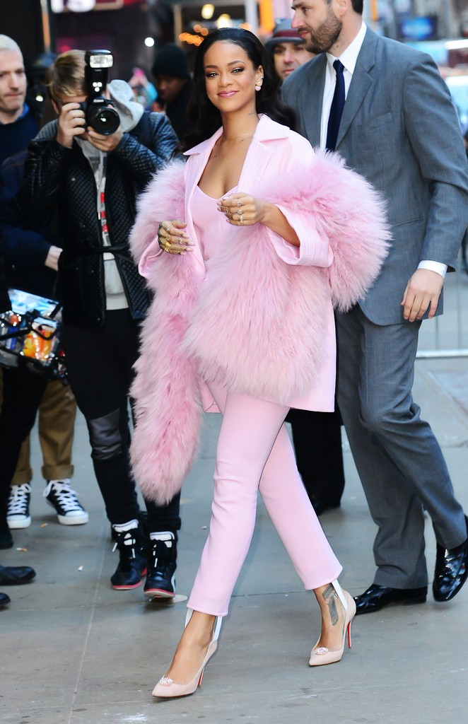 "Rihanna is seen arriving at ""Good Morning America""on March 13, 2015 in New York City."