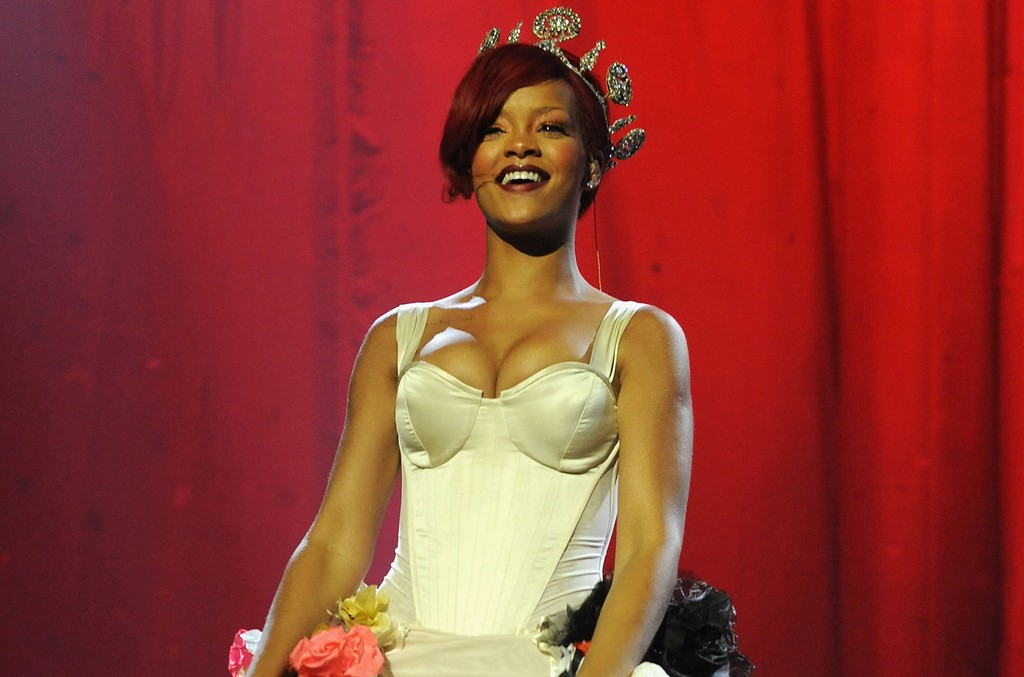 Rihanna performs during the MTV Europe Music Awards 2010 live show at La Caja Magica on Nov. 7, 2010 in Madrid, Spain.