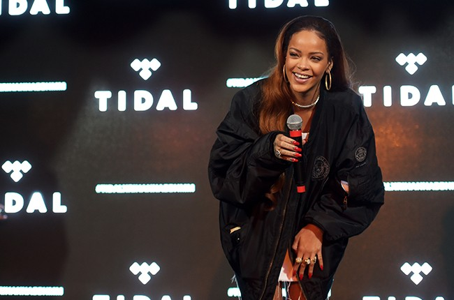 Rihanna and fans enjoy the TIDAL X: RIHANNA BBHMM event on July 1, 2015 in Los Angeles.