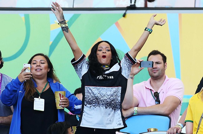 Rihanna at the 2014 FIFA World Cup Brazil Final match between Germany and Argentina
