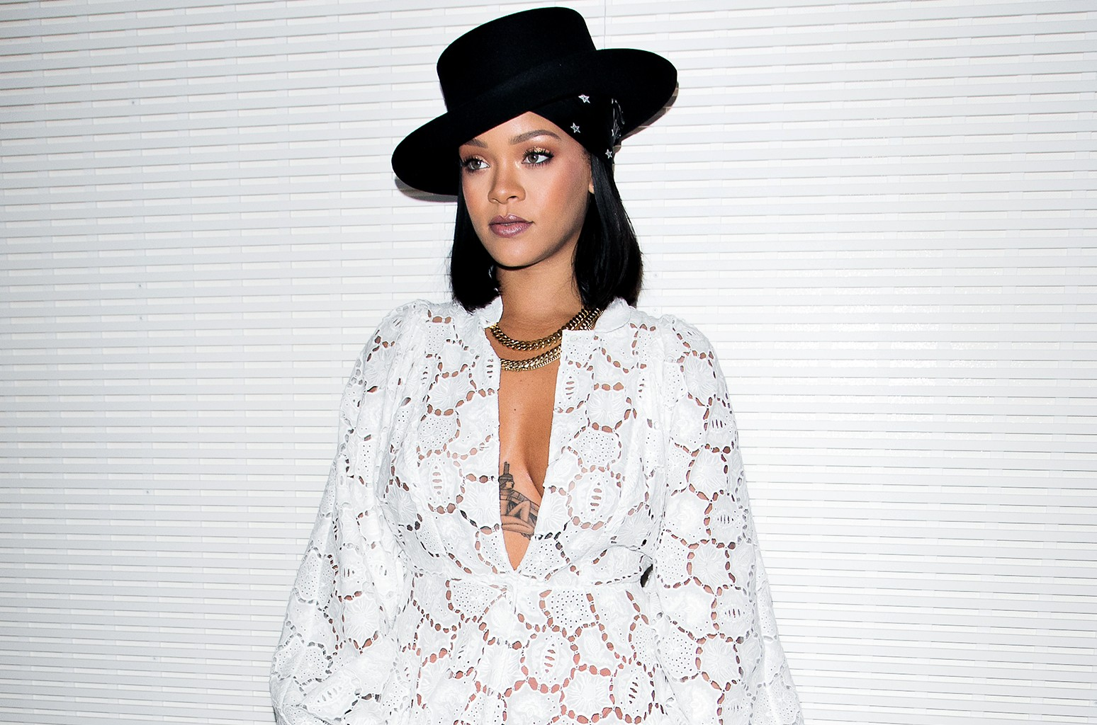 Rihanna attends the 'Young Fashion Designer': LVMH Prize 2017 edition at Fondation Louis Vuitton on June 16, 2017 in Paris, France.