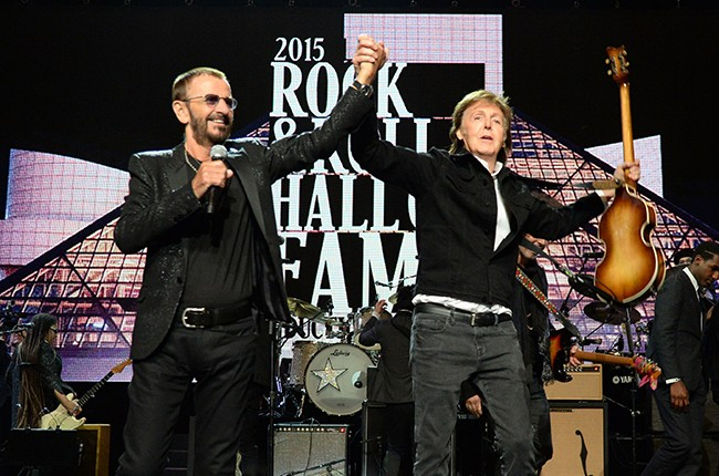 Ringo Starr and Paul McCartney perform onstage during the 30th Annual Rock And Roll Hall Of Fame Induction Ceremony