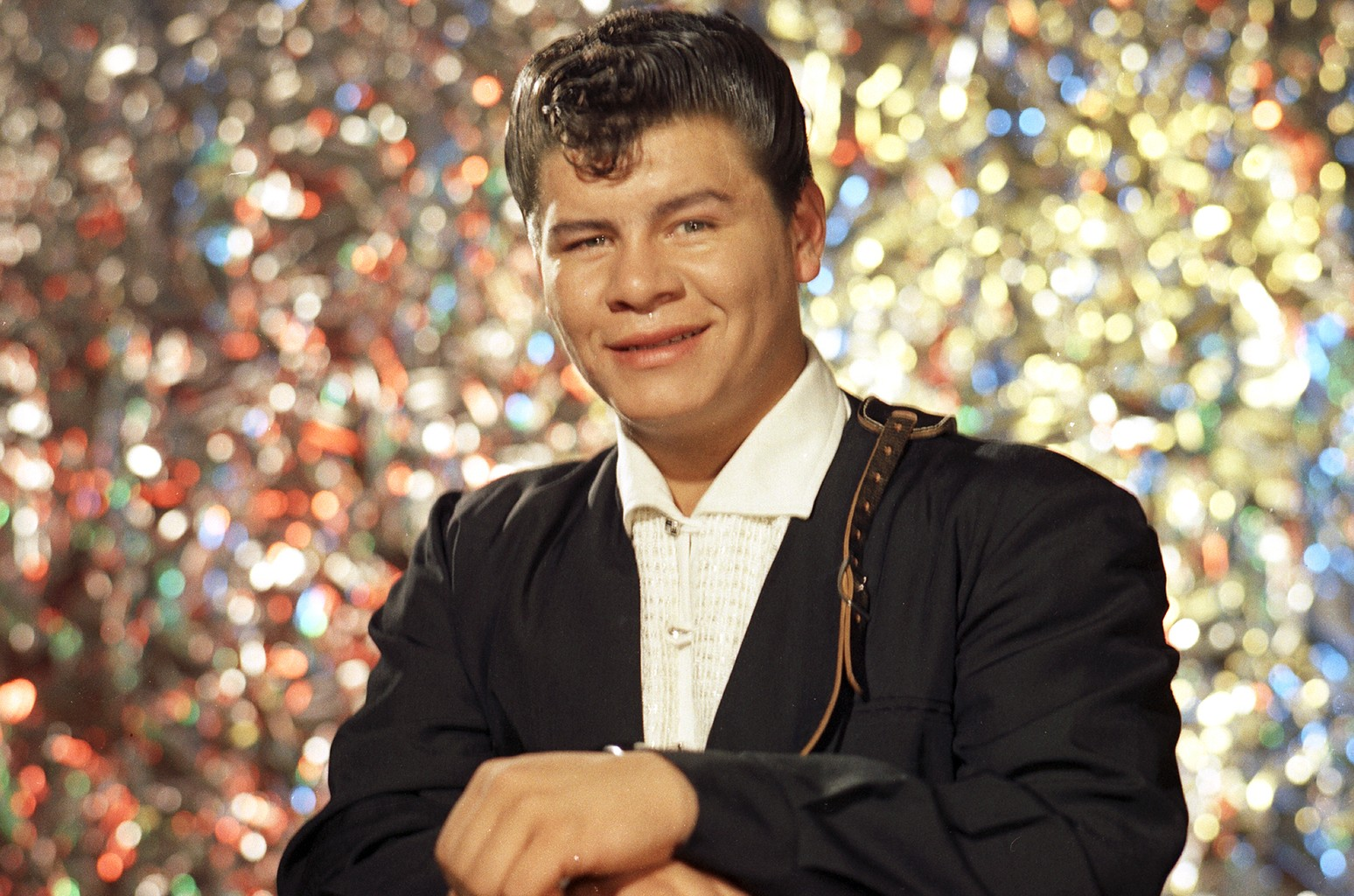 Ritchie Valens (Richard Steven Valenzuela) poses for his famous album cover session in July 1958 in Los Angeles.