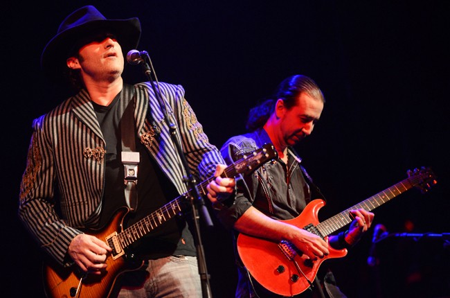 Robert Rodriguez performs onstage with his band Chingon at the Doug Sahm SXSW Tribute Concert