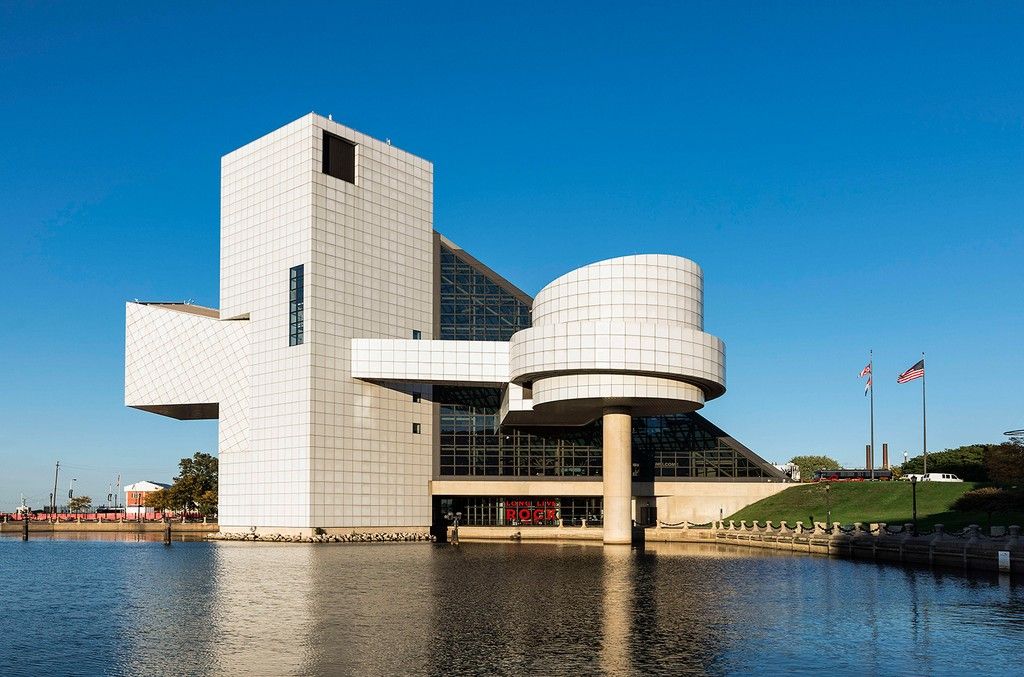 Exterior of the Rock and Roll Hall of Fame.