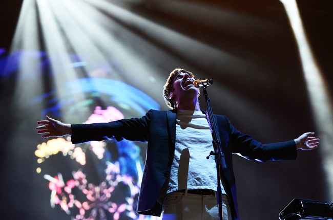 Mark Foster of Foster the People performs onstage during Rock In Rio USA