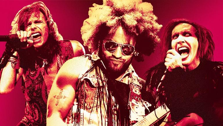 <p>From left: Steven Tyler from Aerosmith, Lenny Kravitz &amp&#x3B; Marilyn Manson</p>