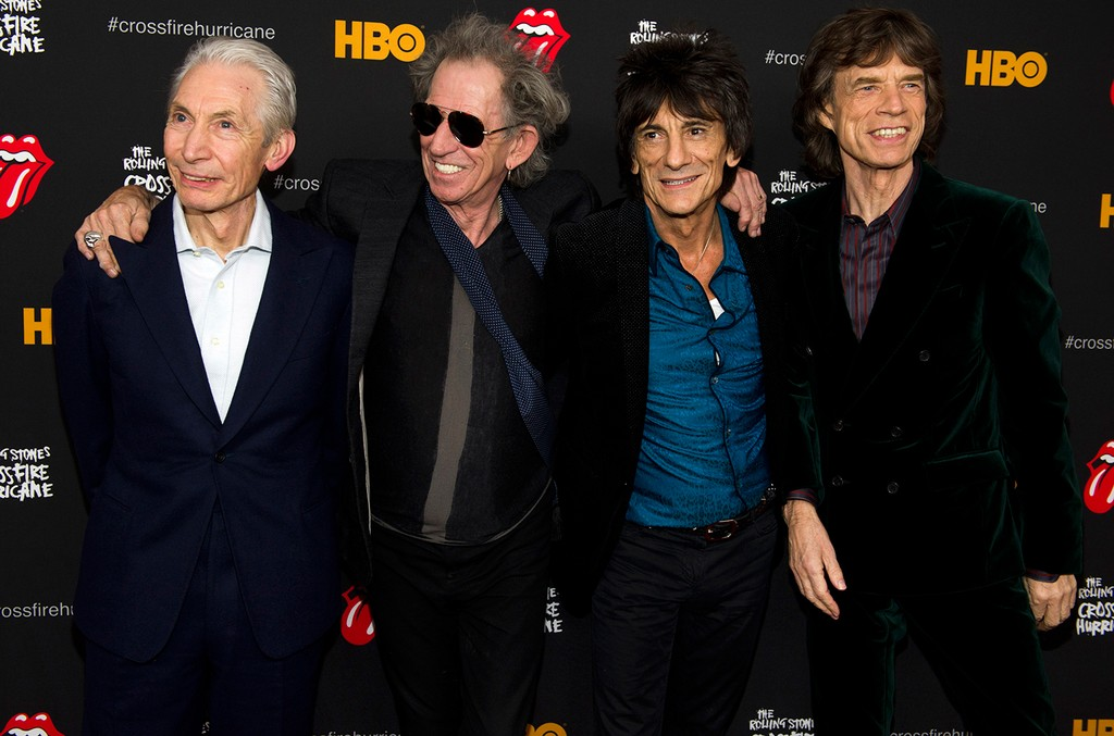 """The Rolling Stones photographed at """"The Rolling Stones Crossfire Hurricane"""" premiere on Nov. 13, 2012 in New York."""