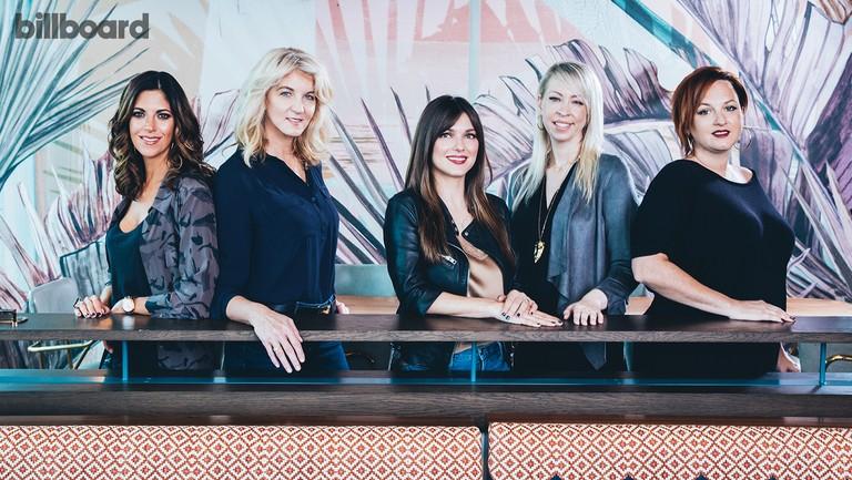 <p>From left: Edwards, Kraft, Davis, Edelblute and Harrington photographed on Nov. 6, 2017 at LA Jackson at the Thompson Hotel in Nashville.</p>