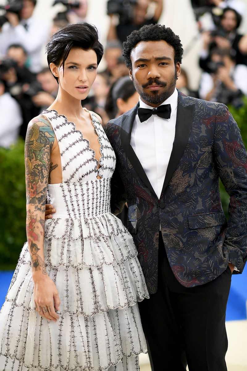 "Ruby Rose and Donald Glover attend the ""Rei Kawakubo/Comme des Garcons: Art Of The In-Between"" Costume Institute Gala at Metropolitan Museum of Art on May 1, 2017 in New York City."
