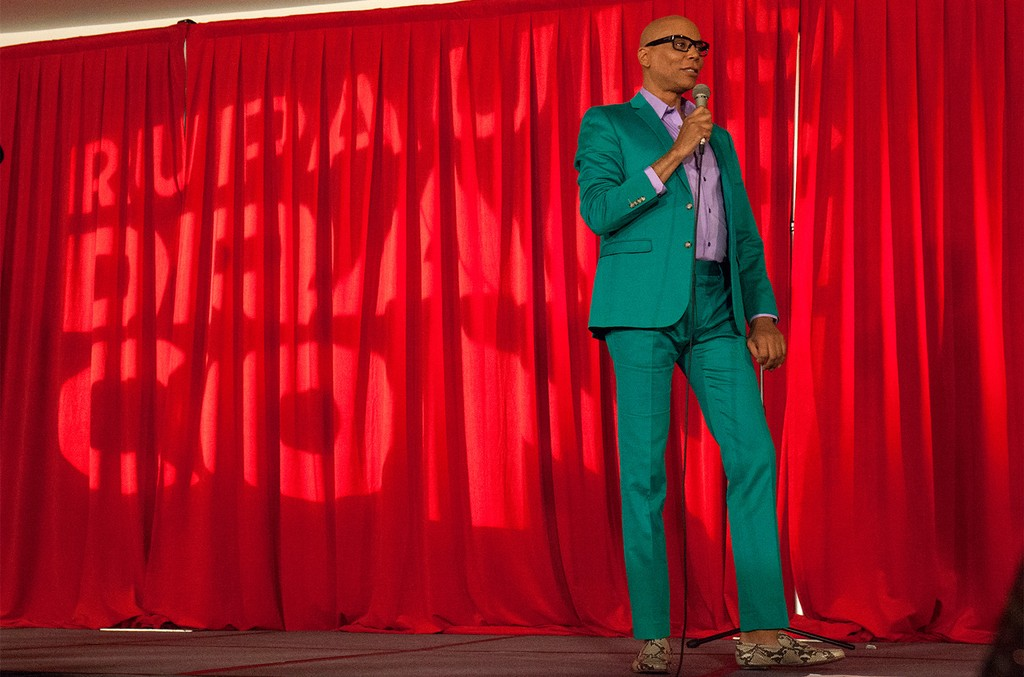 RuPaul speaking during the 3rd Annual RuPaul's DragCon at Los Angeles Convention Center on April 30, 2017 in Los Angeles.
