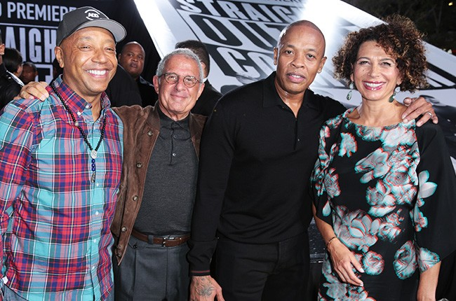 Russell Simmons, Ron Meyer, Dr. Dre and Donna Langley straight outta compton premiere 2015